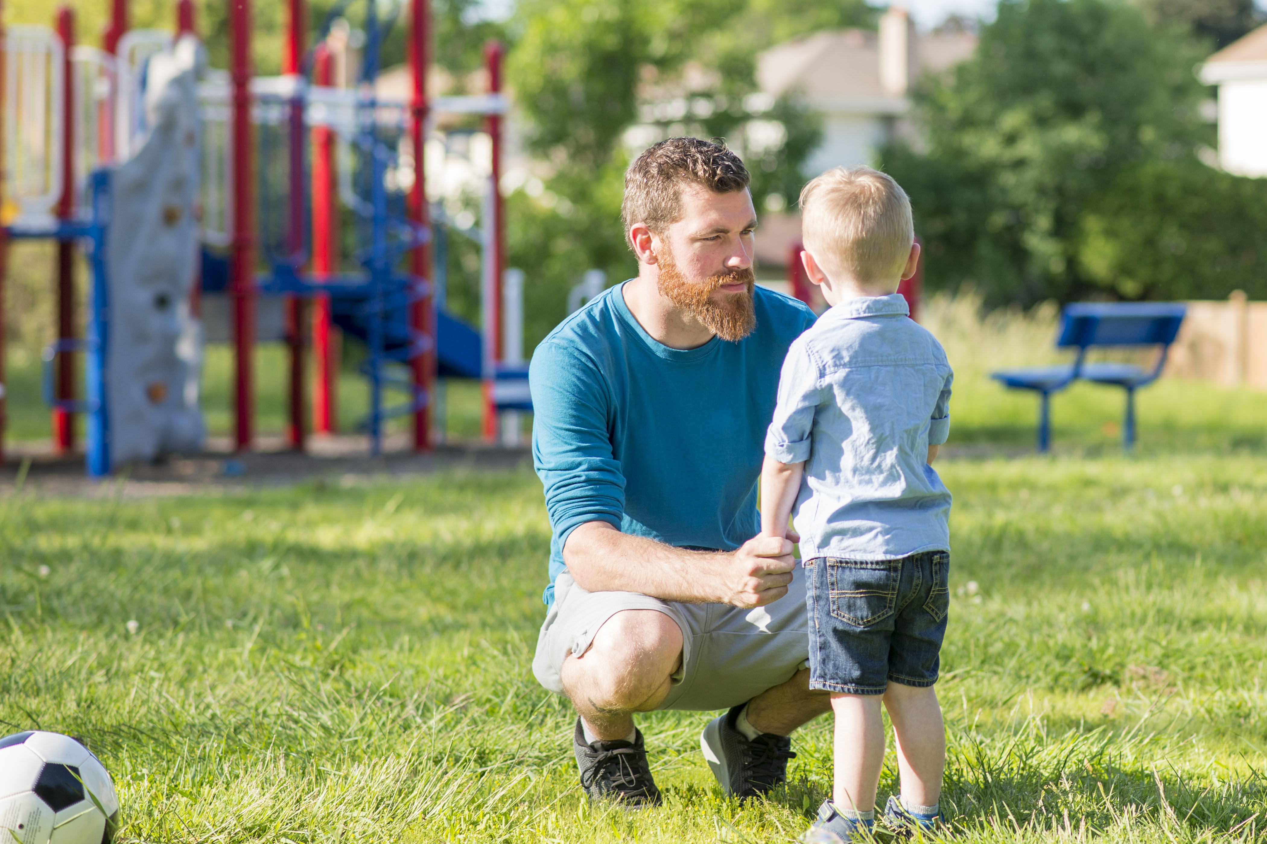 man and son in park